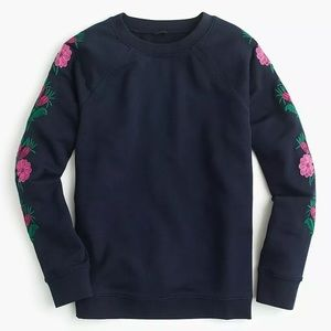 New J.Crew Sweatshirt With Embroidered Flowers